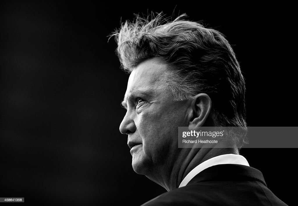 Manchester United Manager Louis van Gaal looks on prior to the Barclays Premier League match between Manchester United and Crystal Palace at Old Trafford on November 8, 2014 in Manchester, England.