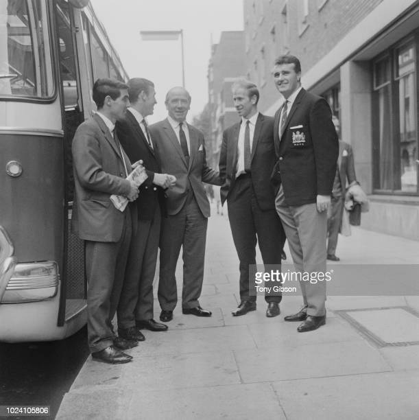 Manchester United manager Matt Busby pictured in centre with members of his team, from left, Tony Dunne, Pat Crerand, Bobby Charlton and Noel...