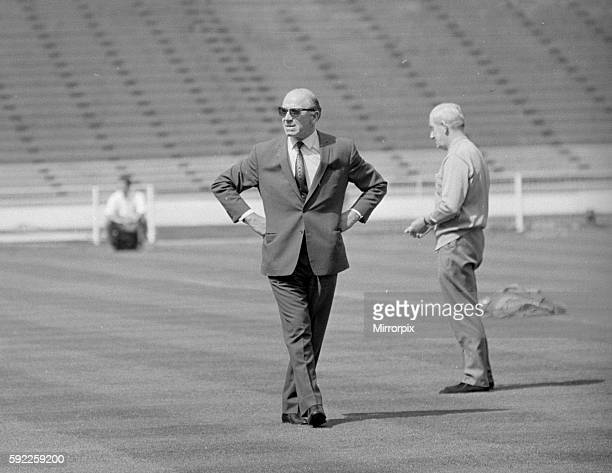 Manchester United manager Matt Busby surveys the pitch at Wembley before his side's European Cup Final match against Benfica 29th May 1968