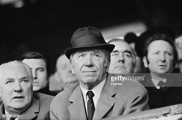 Manchester United manager Matt Busby watches his team in action against Chelsea in a League Division One match UK 9th January 1971