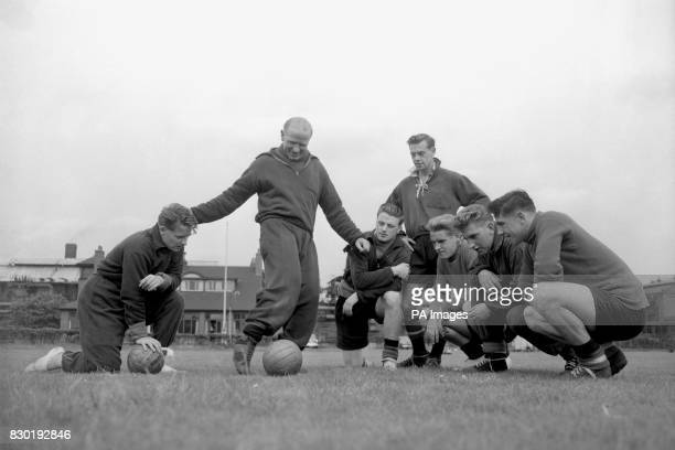 Manchester United Manager Matt Busby with his 'Babes' Albert Scanlon Colin Webster John Doherty Tony Hawesworth Alec Dawson and Paddy Kennedy...