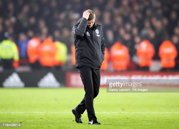 Manchester United manager Ole Gunnar Solskjaer appears dejected after the Premier League match at Bramall Lane, Sheffield.