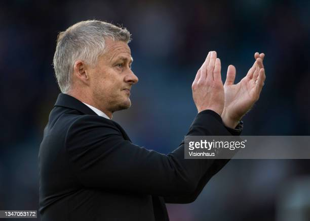 Manchester United manager Ole Gunnar Solskjaer applauds the fans after the Premier League match between Leicester City and Manchester United at The...