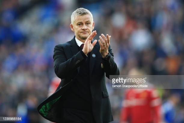 Manchester United manager Ole Gunnar Solskjaer applauds the support after the Premier League match between Leicester City and Manchester United at...