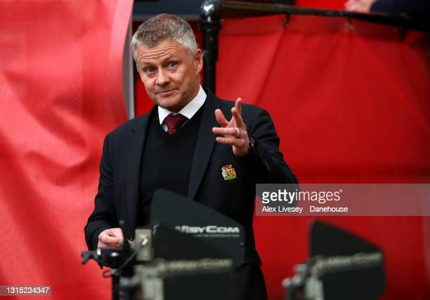 Manchester United Manager Ole Gunnar Solskjaer gestures ahead of the UEFA Europa League Semi-final First Leg match between Manchester United and AS...