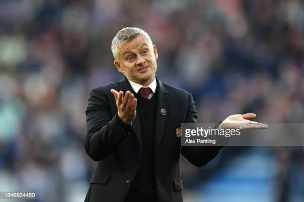 Manchester United Manager, Ole Gunnar Solskjaer gestures at full-time during the Premier League match between Leicester City and Manchester United at...
