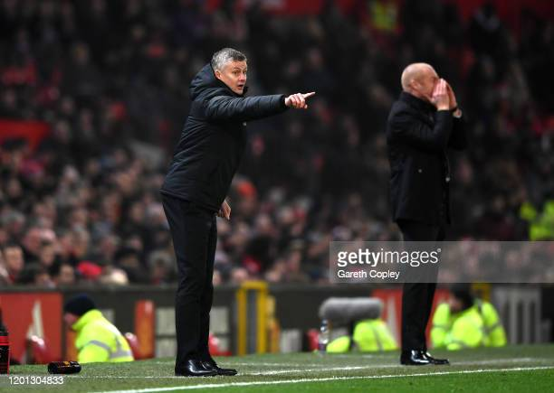 Manchester United Manager Ole Gunnar Solskjaer gives his team instructions during the Premier League match between Manchester United and Burnley FC...