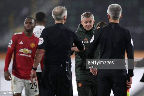 Manchester United Manager, Ole Gunnar Solskjaer interacts with the officials after the Premier League match between Fulham and Manchester United at...