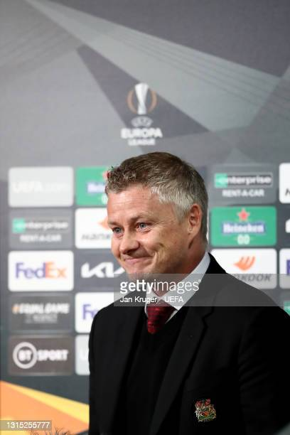 Manchester United manager Ole Gunnar Solskjaer is interviewed during the UEFA Europa League Semi-final First Leg match between Manchester United and...