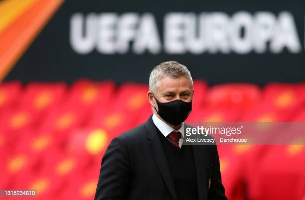 Manchester United Manager Ole Gunnar Solskjaer looks on ahead of the UEFA Europa League Semi-final First Leg match between Manchester United and AS...