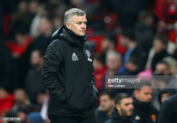 Manchester United Manager, Ole Gunnar Solskjaer walks off at half-time during the Premier League match between Manchester United and Burnley FC at...