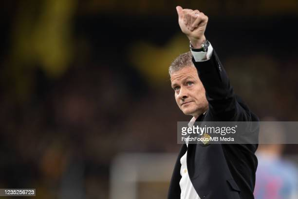 Manchester United Manager Ole Gunnar Solskjær thanks the supporters after the UEFA Champions League group F match between BSC Young Boys and...