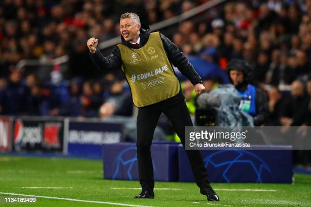 Manchester United manager Ole Gunnar-Solksjaer celebrates on the touchline during the UEFA Champions League Round of 16 Second Leg match between...