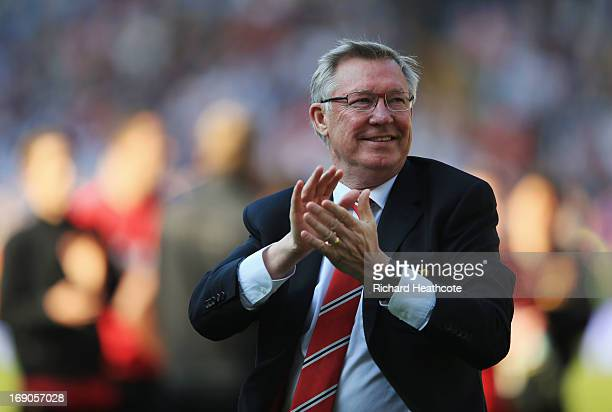 Manchester United manager Sir Alex Ferguson applauds the crowd after his 1500th and final match in charge of the club following the Barclays Premier...