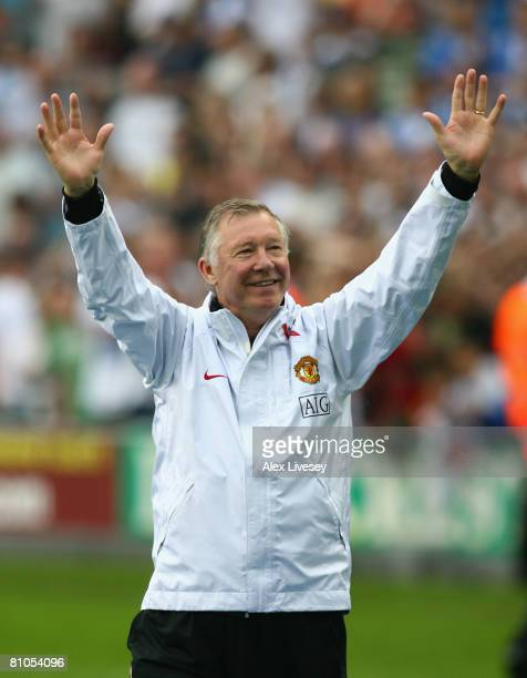 Manchester United Manager Sir Alex Ferguson celebrates at the end of the Barclays Premier League match between Wigan Athletic and Manchester United...