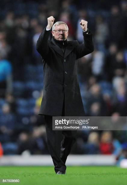 Manchester United manager Sir Alex Ferguson celebrates at the final whistle during the Barclays Premier League match at Ewood Park Blackburn
