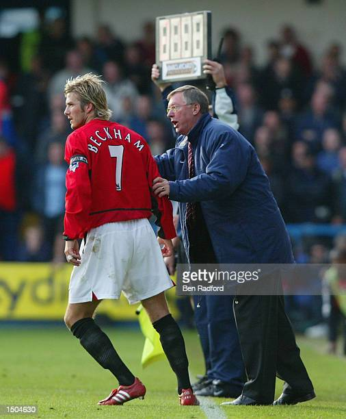 Manchester United manager Sir Alex Ferguson gives instructions to David Beckham during the FA Barclaycard Premiership match between Fulham and...