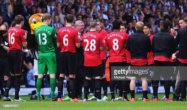 Manchester United manager Sir Alex Ferguson is given a 'guard of honour' prior his 1500th and final match in charge of the club ahead of the Barclays...