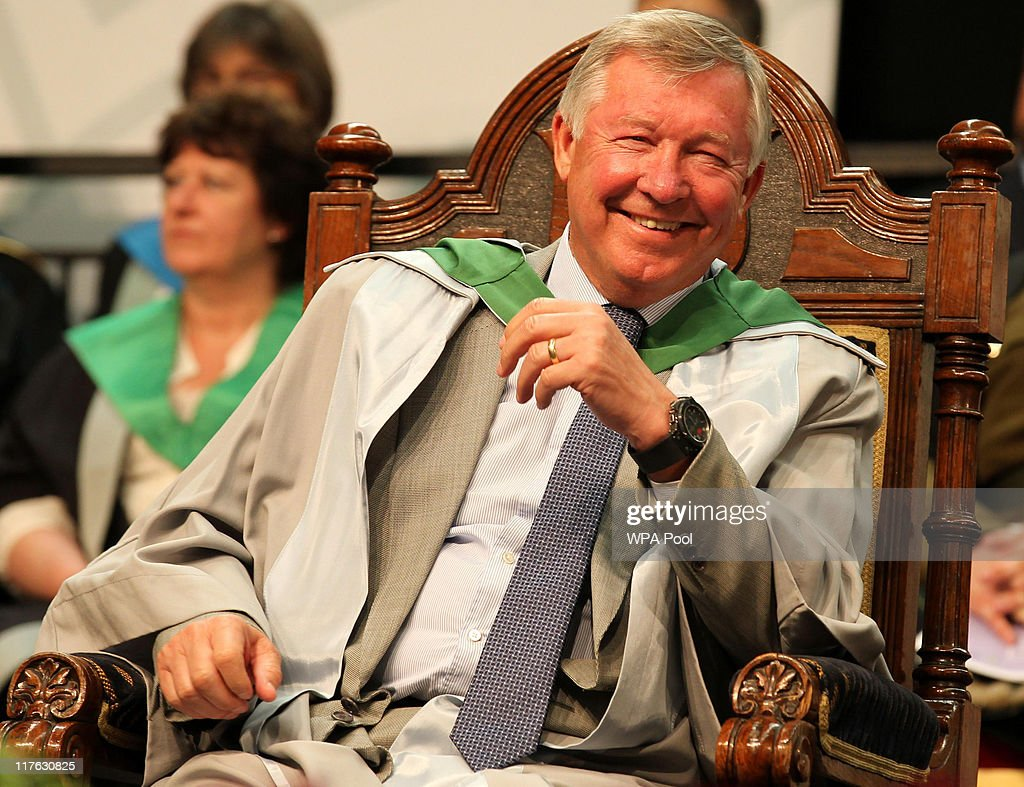 Manchester United manager Sir Alex Ferguson is rewarded with an honorary doctorate during the graduation ceremony at the University of Stirling on June 29, 2011 in Stirling, Scotland. The Honorary doctorate was presented to Sir Alex Ferguson in recognition of his outstanding contribution to sport.