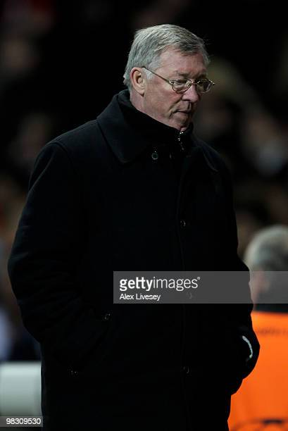 Manchester United Manager Sir Alex Ferguson leaves the pitch at the end of the UEFA Champions League Quarter Final second leg match between...