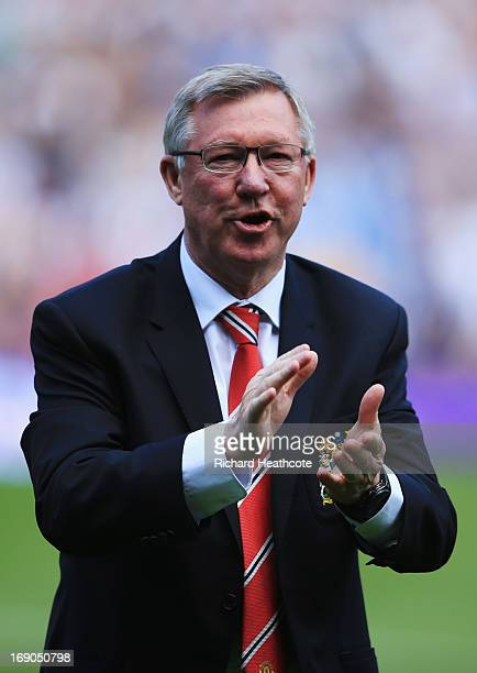 Manchester United manager Sir Alex Ferguson looks on prior his 1500th and final match in charge of the club prior to the Barclays Premier League...