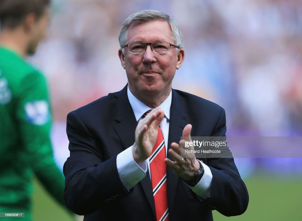 Manchester United manager Sir Alex Ferguson looks on prior his 1,500th and final match in charge of the club prior to the Barclays Premier League match between West Bromwich Albion and Manchester United at The Hawthorns on May 19, 2013 in West Bromwich, England.