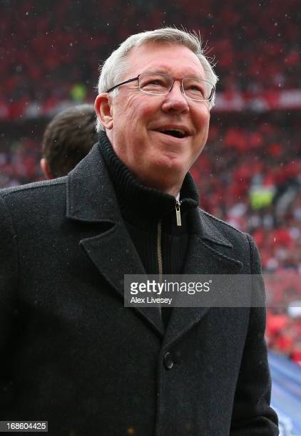 Manchester United Manager Sir Alex Ferguson looks on prior to the Barclays Premier League match between Manchester United and Swansea City at Old...