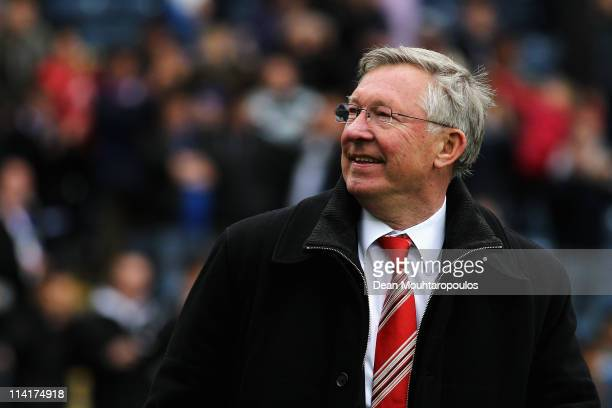 Manchester United Manager Sir Alex Ferguson smiles after drawing the Barclays Premier League match between Blackburn Rovers and Manchester United but...