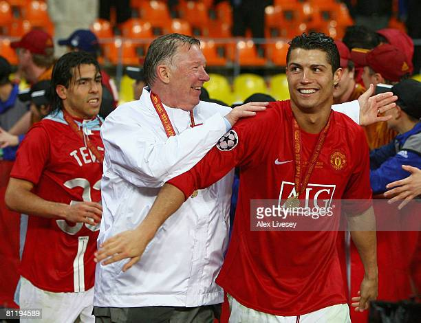 Manchester United manager Sir Alex Ferguson smiles with Cristiano Ronaldo of Manchester United after the UEFA Champions League Final match between...