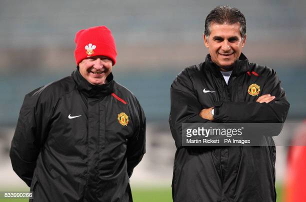 Manchester United manager Sir Alex Ferguson with assistant coach Carlos Queiroz during a training session at the Stadio Olimpico Rome