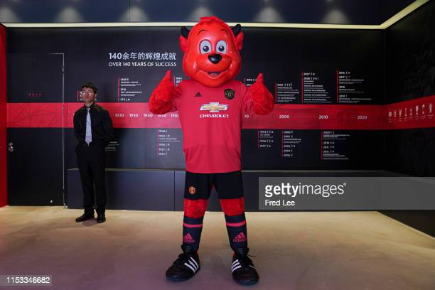 Manchester United mascot Fred the Red attends a press conference during Manchester United Creates New Online Offline Experiences To Engage Fans In...