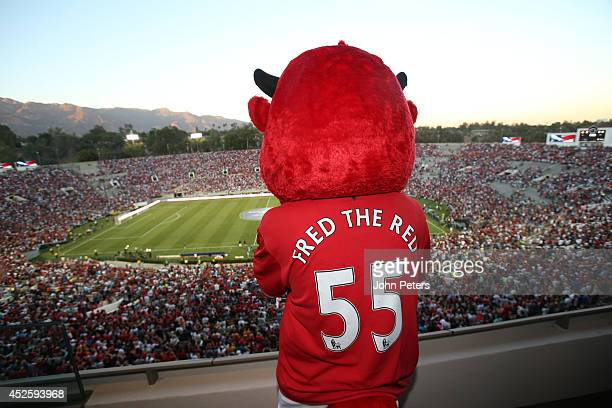 Manchester United mascot Fred the Red looks out over the stadium ahead of the preseason friendly match between LA Galaxy and Manchester United at...