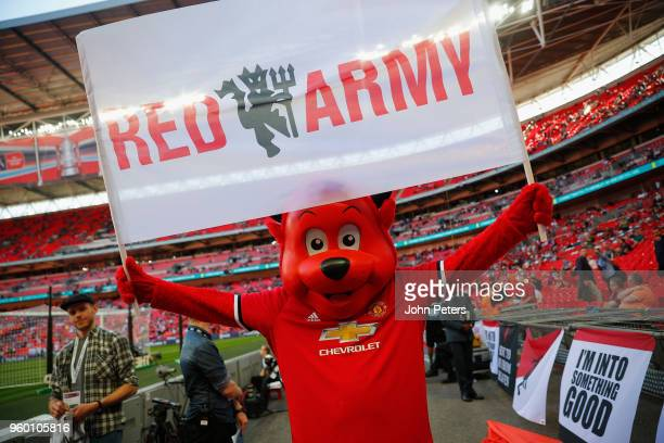 Manchester United mascot Fred The Red poses ahead of the Emirates FA Cup Final match between Manchester United and Chelsea at Wembley Stadium on May...