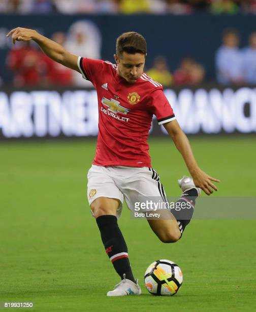 Manchester United midfielder Ander Herrera shoots on goal in the first half against Manchester City at NRG Stadium on July 20 2017 in Houston Texas