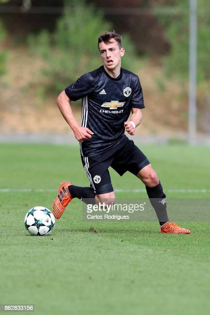 Manchester United midfielder Lee O Connor from Ireland during SL Benfica v Manchester United UEFA Youth League round three match at Caixa Campus on...