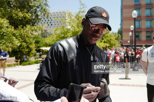 Manchester United midfielder Paul Pogba signs autographs on the UCLA campus after a Manchester United Open Training Session at UCLA on July 14 2017...