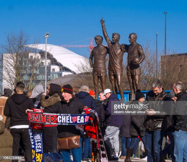 manchester united, old trafford, merchandising seller - chelsea vs manchester united stock pictures, royalty-free photos & images