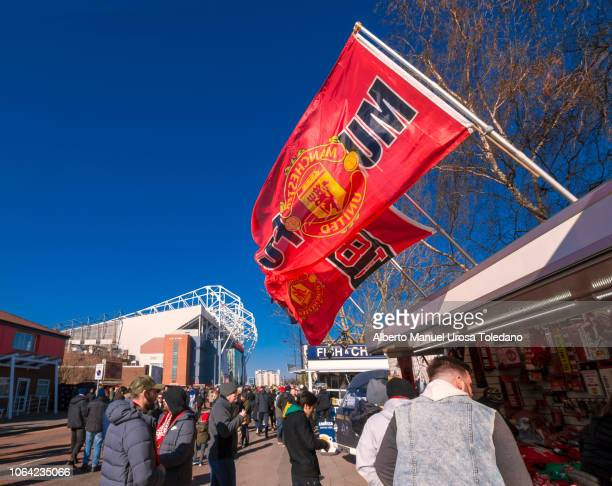 manchester united, old trafford, stadium, flags - chelsea vs manchester united stock pictures, royalty-free photos & images