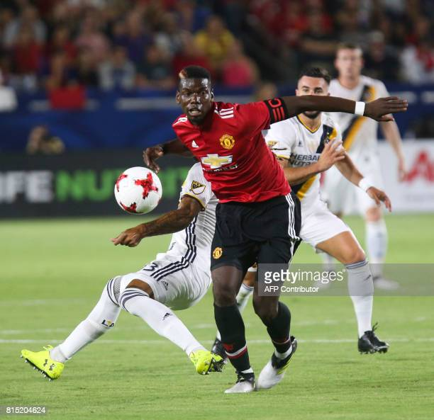 Manchester United Paul Pogba controls the ball against Los Angeles Galaxy during the second half of a national friendly soccer game at StubHub Center...