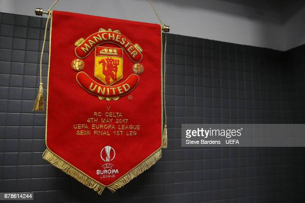 Manchester United pennant hangs in the dressing room prior to kickoff during the UEFA Europa League semi final first leg match between Celta Vigo and...