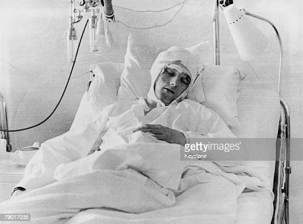 Manchester United player Albert Scanlon in the Isar Hospital in Munich recovering from injuries sustained in the plane crash that killed 8 of his...