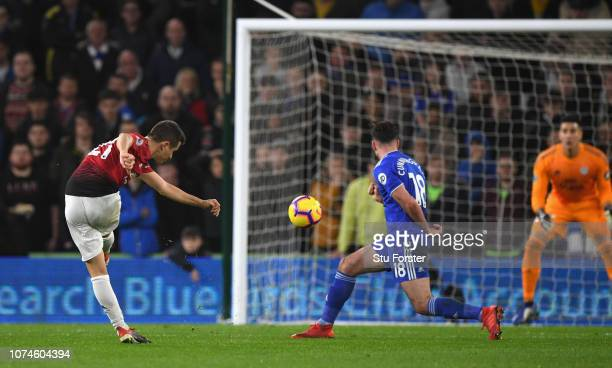 Manchester United player Ander Herrera shoots to score the second goal during the Premier League match between Cardiff City and Manchester United at...