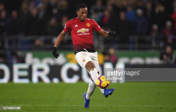 Manchester United player Anthony Martial in action during the Premier League match between Cardiff City and Manchester United at Cardiff City Stadium...