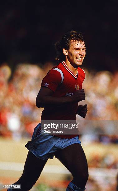 Manchester United player Bryan Robson in action during a Canon League Division One match between Manchester United and QPR at Old Trafford on October...