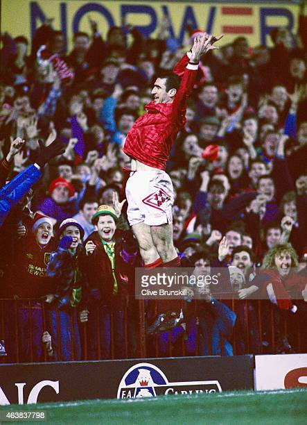 Manchester United player Eric Cantona celebrates his 2nd goal in a 31 Premier League win over Aston Villa at Old Trafford on December 19 1993 in...