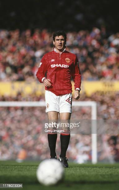Manchester United player Eric Cantona player in action during the Manchester Derby at Old Trafford on April 23 1993 in Manchester United Kingdom