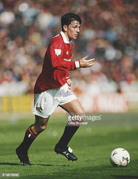 Manchester United player Lee Sharpe in action during the FA Cup semi final against Oldham Athletic at Wembley Stadium on April 10 1994 in London...