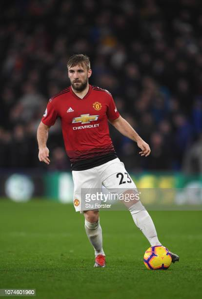 Manchester United player Luke Shaw in action during the Premier League match between Cardiff City and Manchester United at Cardiff City Stadium on...