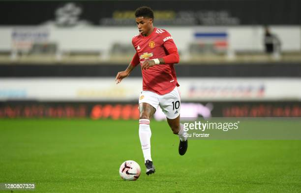 Manchester United player Marcus Rashford in action during the Premier League match between Newcastle United and Manchester United at St James Park on...