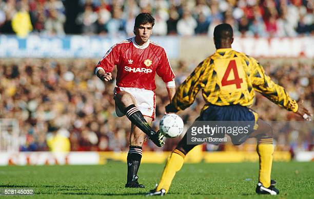 Manchester United player Neil Webb in action during a First Division match against Arsenal at Old Trafford on October 19 1991 in Manchester England